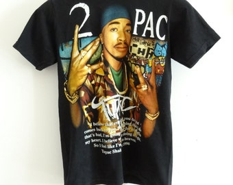 Band t-shirt Tupak Shakur tshirt music hip hop pop rock shirt vintage 90s size S