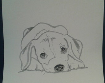 handmade dog customizable marker puppy portrait