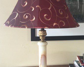 Brass and marble, dual-socket table lamp - Vintage