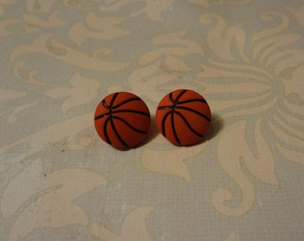 Basketball Earrings, made with vintage recycled buttons