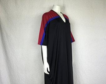 Vtg 70s Bill Tice colorblock v neck maxi dress batwing caftan