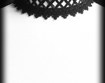 Black Gothic Choker, Criss Cross Ribbon Laced, Gothic Burlesque Collar, Corset Style Choker, Gothic Jewelry, Gothic Gift, Gift For Her