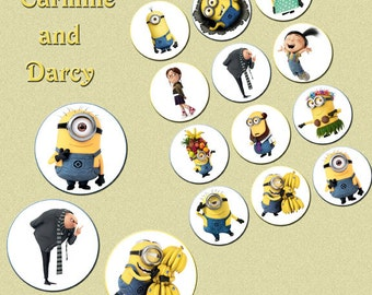MINIONS 2 inch collage sheet, digital download, cake toppers!! circles