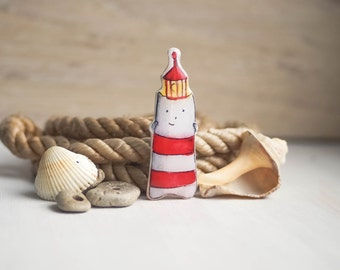 Lighthouse cat watercolor brooch, cute cat jewelry, sea accessories
