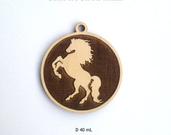Laser engraved HORSE wood pendant / Horse jewelry / Laser cut wood / Laser cut jewelry / Horse decor / Horse necklace / Laser engraved wood