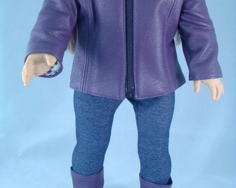 Purple Faux Leather Jacket with Matching Boots for American Girl or other 18-in Doll