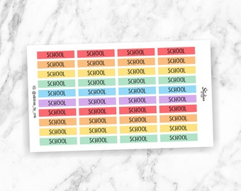 School Planner Stickers / Rainbow Stickers / Header Stickers for use with Erin Condren LifePlanner™ / Minimalist | KA5