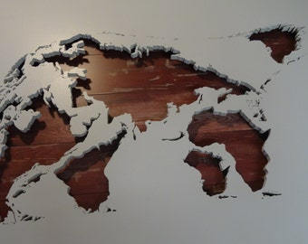 World map - Polar bear - effective painting