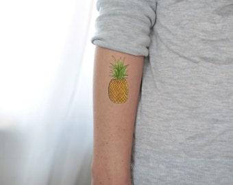 Colorful Pineapple tattoo / fake tattoo / Pineapple Summer tattoo / Festival big tattoo / vintage temporary tattoo tattoo by temp tat