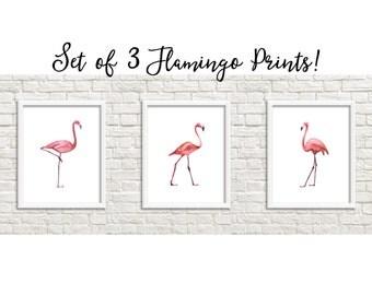 SALE Set of 3 Pink Flamingo Printables Printable Wall Art Flamingo Nursery Decor Flamingo Decor Watercolor Flamingo Print Flamingo Printable
