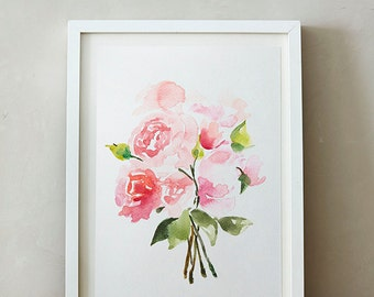 Peonies Watercolor painting, Flowers, Floral Print, Printable art, Home decor, Original art, Floral wall art, Instant Download