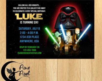 Lego Star Wars Party Printable Birthday Invitation - Personalized Customized Printable Digital