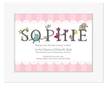 Name meaning gift etsy personalised meaning of name new baby gift christening gift gift for baby girl negle Choice Image
