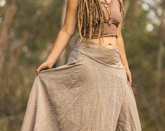 Raw Cotton Long Wrap Skirt