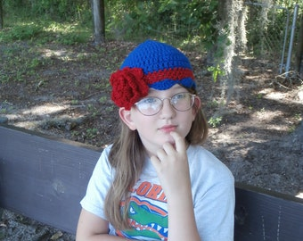 Ready to Ship -  Toddlers/Kids - Crocheted Blue Hat with Red Stripe and Crocodile Stitch Flower