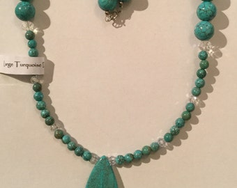 Turquoise and Swarovski Crystal Drop Necklace