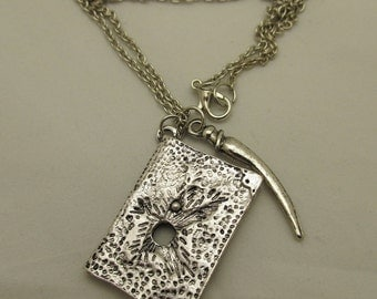 SALE! Harry Potter / Tom Riddle's Diary and Basilisk Fang Horcrux / Antique Silver Pendant Necklace