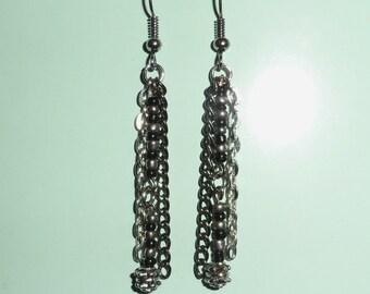Glass Bead and Chain Dangle Hook Earrings
