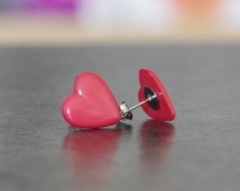 Cute red heart earrings, plastic, surgical steel post back