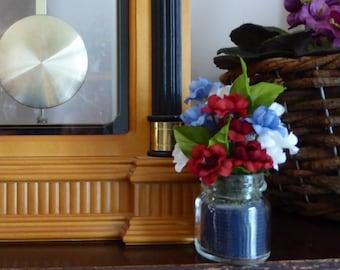 Miniature silk flower arrangement, Red, White, and Blue Flowers,small arrangements