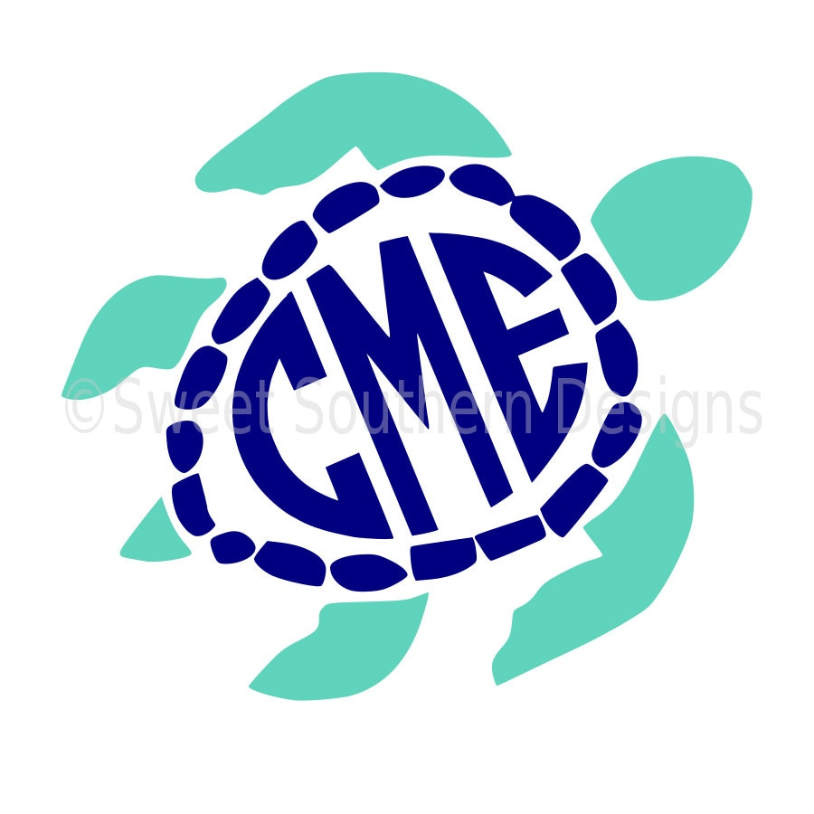sea turtle monogram svg instant download design for cricut or