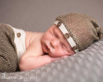 Newborn Brown & Tan Knit Hat and Pant Set, Newborn Posing Set, Newborn Photography Prop, Ready to Ship Newborn Photo Prop, Newborn Boy Set,