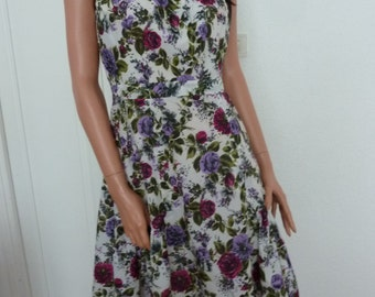 One of a Kind Vintage Dress TERGAL French Floral 50s 60s Mad Men Couture Bespoke