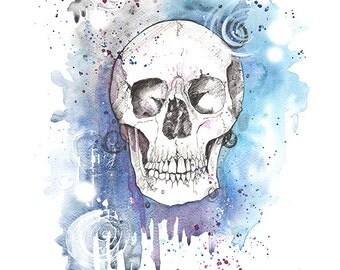 Skull Blue- High quality print from original watercolour and ink piece by OneCreativeMother.