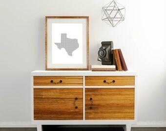 Texas Digital Print, Grid Printable, Texas Wall Print, Grid Wall Print, Grid Digital Print, Austin Wall Art, Austin Digital Print, Texas Art