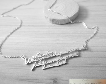 20% OFF Handwriting Necklace - Multiple Lines Signature Necklace - Personalized Keepsake Necklace - Memorial Gift - Mother Gift