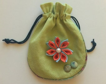 3D Orange and Light Blue Flower Jewelry/Makeup/Accessories Pouch