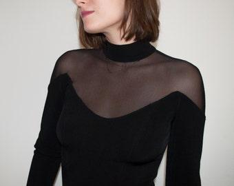 Off Shoulder Mesh Turtleneck Goth Dress