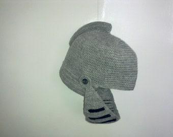 Handknitted wool warrior helmet