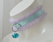 Kitten play collar - Pastel kitty - ddlg kawaii cute princess pet BDSM - lilac and blue lace collar with bell and leash ring