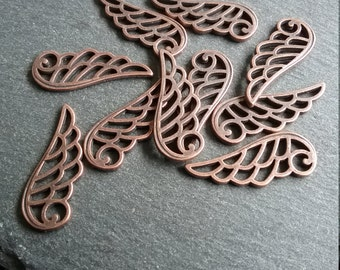 14 Antique Copper Angel Wing Charms