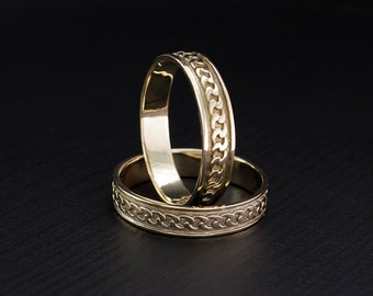 Chain gold wedding bands , Wedding bands his and hers, Matching wedding bands, Ring set His and Her, Unique wedding rings, Couple rings