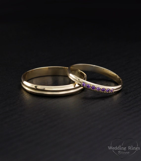 14k solid gold small wedding bands slim wedding rings set