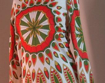 Vintage 1960s Mod Top with Green & Orange Pattern