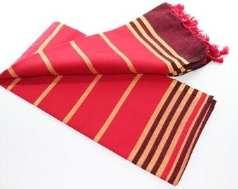 Anatolia | Red Beach Towel | Yellow | Dark Red | Peshtemal | Turkish Beach Towel | Red Beach Blanket | Beach Towel | Turkish Towel | Trendy