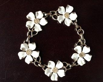 Signed Emmons White Enamel Dogwood Flower Bracelet