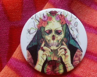 Big Fortune Teller Button/Pin/Brooch (Vintage Look,Punk, RocknRoll,  Magic, Halloween)