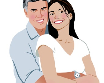 Custom portrait 2 people ideal for couple, couple, gift Valentine