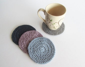 Crochet Coasters, Drink Coasters, Coasters Set, 100% Cotton, Handmade (Set of 4)