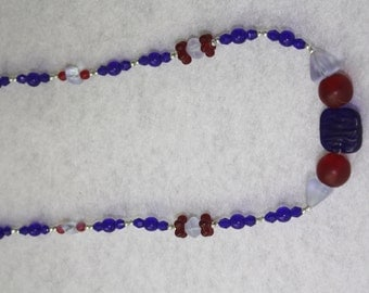 Cobalt, Red, and Pale Blue Glass Necklace
