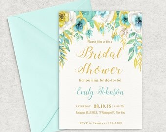 Mint and Gold Bridal Shower Invitations, Gold Shine and Mint Floral Invitation, Printable Invitation,Bridal Shower Invite, Custom invitation