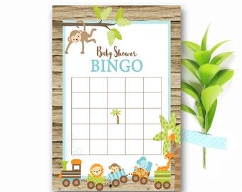 Jungle Baby Shower Bingo, Jungle  Baby Bingo game, Printable bingo card, Instant baby bingo, Baby shower activities, Games printable, Ju1