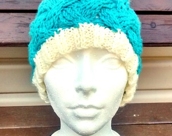 Tuque for adult or child with Pompom perfect for winter knitted hand color aqua and cream