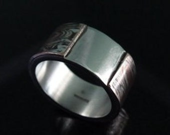 Mens Mokume Sterling Silver and Copper hallmarked ring