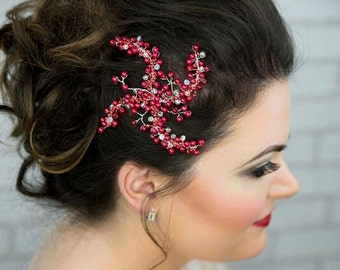 Bridal hair accessory red/handmade accessories/bridal hairclip/hair accessory/bridal headpiece/jewelry/precious/pearls/crystals/red/wedding