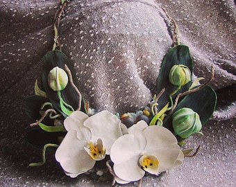 Mysterious Orchid, necklace of the leather , hand made ,leather flowers, charm necklace,Orchid,